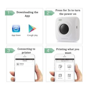 Portable Bluetooth Printer Mini Pocket Photo Printer For iOS Android 5
