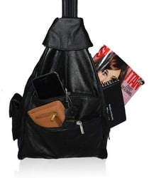 AFONiE Genuine Leather 4 Compartments Women Backpack Handbag
