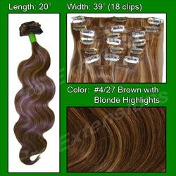 #4/27 Dark Brown w Golden Blonde Highlights – 20″ Body Wave