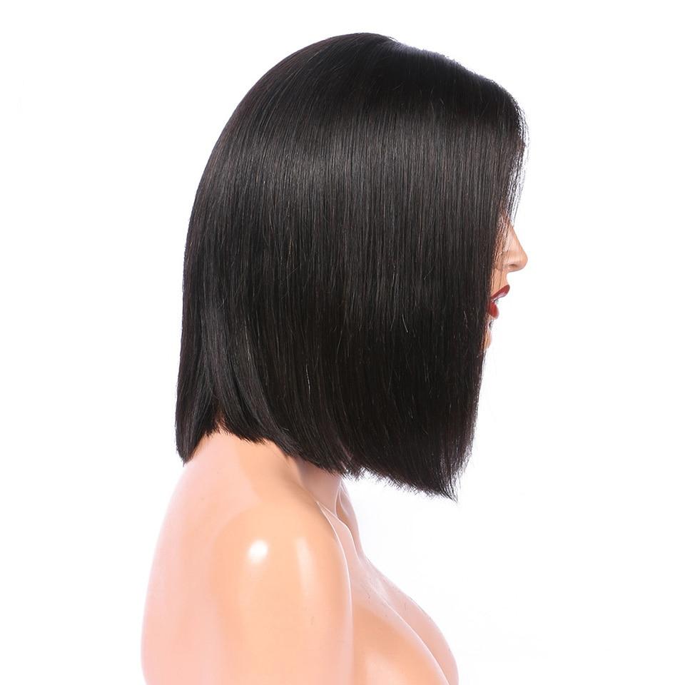 Black Long Bob Straight Lace Front Human Hair Wig