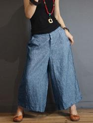 S-5XL Women Casual Loose Mid Rise Wide Leg Pants