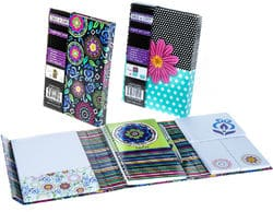 Case of [24] Creative Colors Floral Notes Journal – 24 Count, w/Spiral Notebook, 4 Non-stick Notepads, Pen, Magnetic Closure