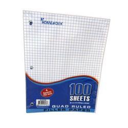 Case of [36] A+ Homework Quad Ruled Filler Paper – 36 Count, 100 Sheets
