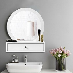 Makeup Dressing Wall Mounted Vanity Mirror with 2 Drawer