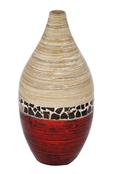 10″ X 10″ X 20″ Natural Bamboo And Metallic Red W/ Coconut Shell Bamboo Spun Bamboo Vase