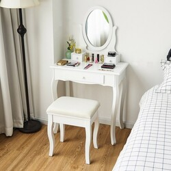 White Simple Vanity Makeup Table with 3 Drawers and Cushioned Bench