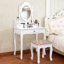 Vanity Makeup Dressing Table with Rotating Mirror and 3 Drawers