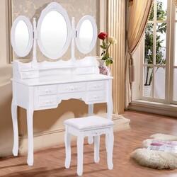 Black / White Vanity Makeup Dressing Table w/ Tri Folding Mirror + 7 Drawers-White