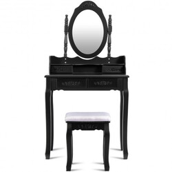 Wood Vanity Table Set with Oval Mirror and 4 Drawers for Kids Girls Women-White