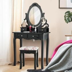 4 Drawers Vanity Wood Makeup Dressing Table Set with Mirror-Black