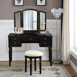Tri-Fold Mirror Wooden Vanity Set Makeup Dressing Table with Stool and 5 Drawers-Black