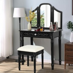 Vanity Dressing Makeup Table Set with Tri-Folding Mirror and Stool-Black