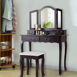 Tri Folding Mirror Makeup Dressing Vanity Set with 4 Drawers-Coffee
