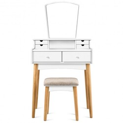 Vanity Table Set Dressing Table Cushioned Stool Makeup Table