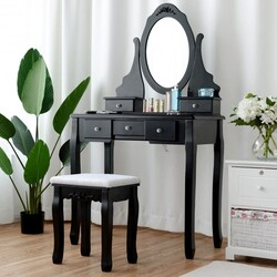 Wooden Vanity Set with 360?° Rotating Oval Mirror and Cushioned Stool-Black