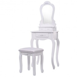 Makeup Dressing Table and Bench 3 Drawers and Cushioned Stool for Girls-White