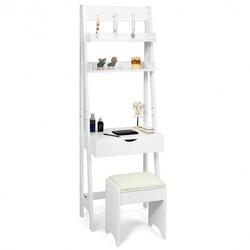 Makeup Dressing Table Shelf Vanity Set with Flip Top Mirror