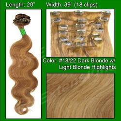 #18/22 Dark Blonde with Light Highlights – 20″ Body Wave