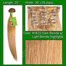 #18/22 Dark Blonde w/ Light Blonde Highlights – 20 inch Remi