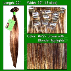 #4/27 Brown w/ Blonde Highlights – 20 inch Remi
