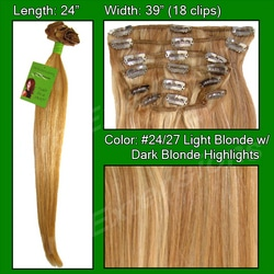 #24/27 Light Blonde w/ Dark Blonde Highlights – 24 inch Remy