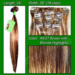 #4/27 Dark Brown w/ Golden Blonde Highlight – 24 inch Remy