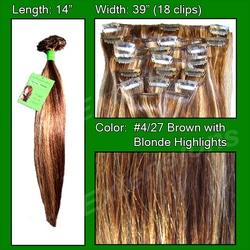#4/27 Dark Brown w/ Godlen Blonde Highlights – 14 inch