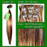#4/27 Dark Brown w/ Golden Blonde Highlights – 20 inch