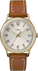 Timex Womens TW2R23000 New England Gold-tone Brown Leather Strap Watch