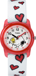 Timex Girls TW2R41600 Time Machines x Peanuts: White Woodstock & Snoopy/Hearts Fabric Strap Watch