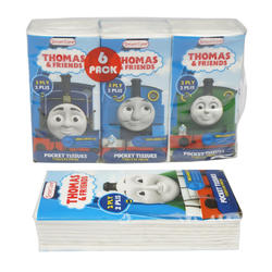 Case of [24] Thomas & Friends 10 Count Facial Tissue – 6 Pack – Assorted