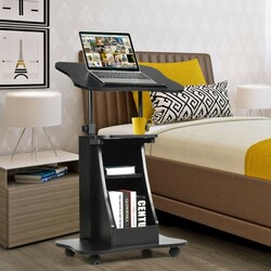 Sit-to-Stand Laptop Desk Cart Height Adjustable with Storage-Black – Color: Black