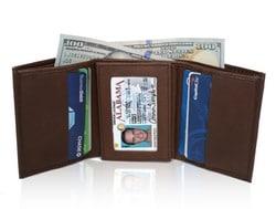 AFONiE Soft Genuine Leather Tri-fold Wallet For Men