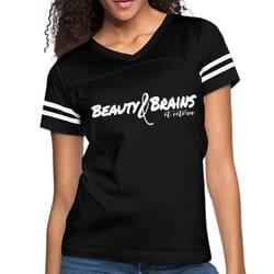 Womens T-Shirts, Beauty And Brains Et Cetera Vintage Sport Shirt