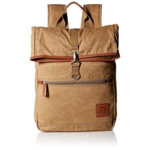 "Buxton Men""s Expedition II Huntington Gear Fold-Over Canvas Backpack Tan"